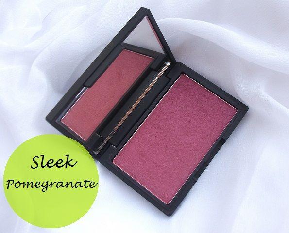 Elegant makeup rodna granskning och färgrutor: granatäpple