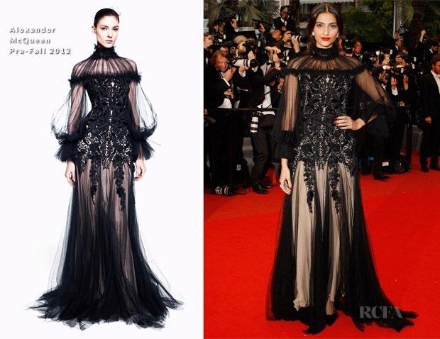 Sonam kapoor Cannes 2012: alexander mcqueen klänning, makeup uppdelning